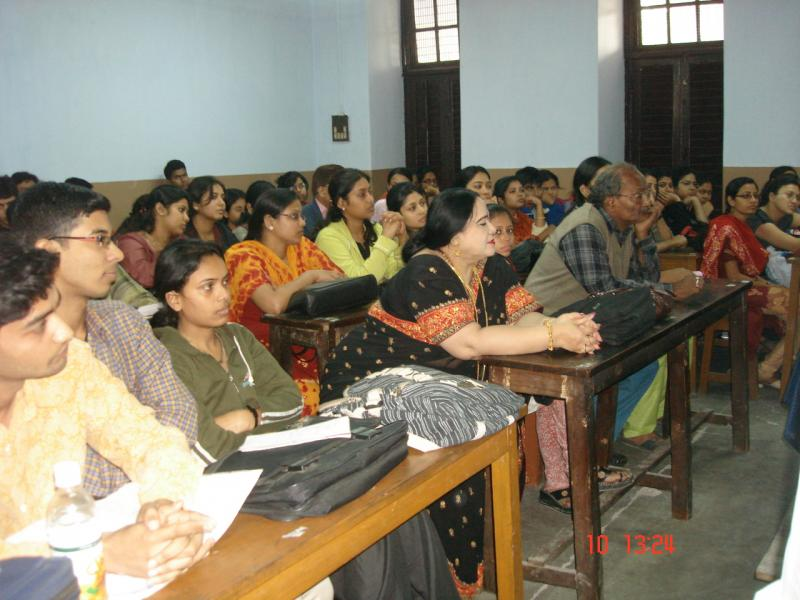 With students listening lecture in the classrooms.
