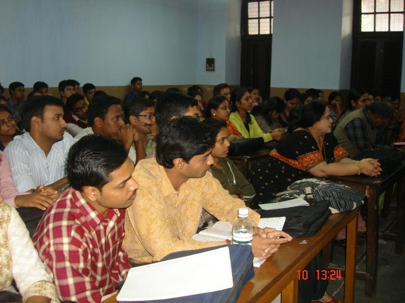 With the students listening a lecture