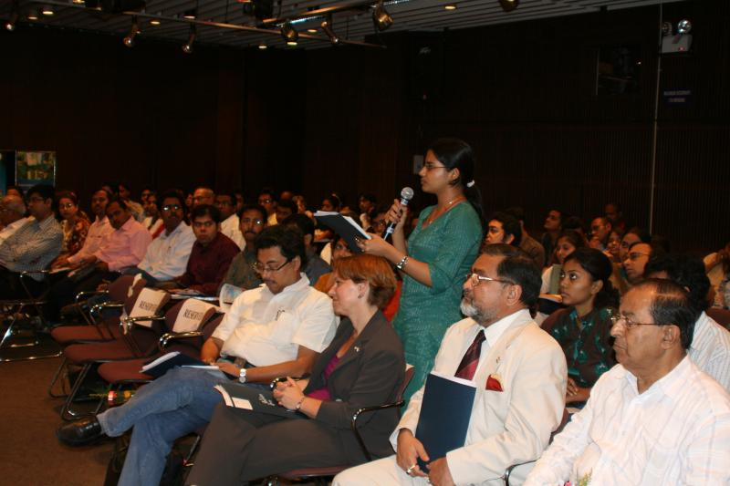 US Consul General Beth A. Payne listening to Professor. Dr. Tapati Basu